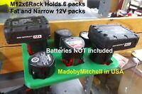 M12 Battery Holder for 6pcs 12V Milwaukee Bosch Makita Ridgid M12x6Rack Promo $