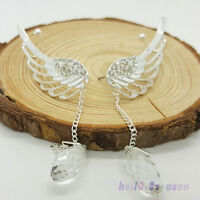 1Pair Fashion Crystal Angel's Wings Ear Cuff Clips Dangle Tessels HOT