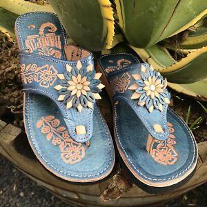 Womens Mexican Handmade Leather HUARACHES Sandals Sandalias Mujer MEXICO P gallo