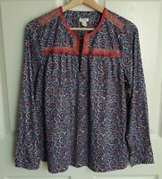 J Crew Womens Blue Pink Paisley Printed Peasant Top Shirt Blouse Size Small
