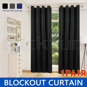 2X Blockout Curtains Blackout Curtain Bedroom Window Eyelet Draperies Pair AU