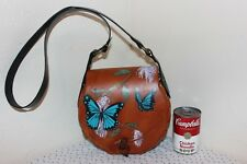 Hand Tooled & Hand Painted Leather Purse, Butterflies, Beautiful Detail OOAK