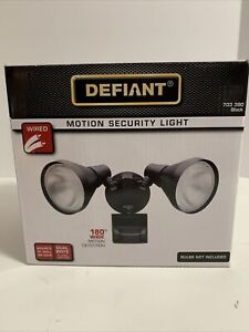 Defiant 180 Degree Black Motion-Sensing Outdoor Security Light New