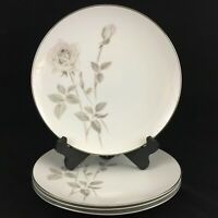 Set of 4 VTG Dinner Plates Noritake Melrose Pink Rose Floral Platinum 6002 Japan