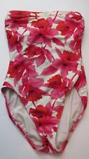 OSCAR DE LA RENTA SWIM SUIT Floral 1 Piece Bathing Suit Strapless Pink Red Sz 8