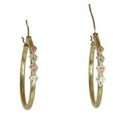10k Black Hills Gold Four Leaf on 14k Gold Plated Hoop Earrings