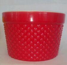 Crate & Barrel Bright Candy Apple Red Embossed Ramekin Custard Cup