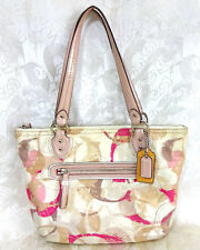 0c937aef5d3e Coach Pink Beige Blush Magenta Leather Canvas Shoulder Bag   A1405-31142E