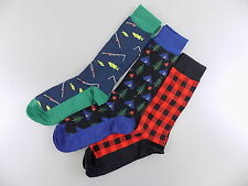 CLUB ROOM $26 Black 3-PAIRS SHOE SIZE 7-12 MEN'S Casual Crew SOCKS BLUE RED O04