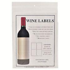 Blank Wine Bottle Labels 32 pack Water Resistant Vinyl For InkJet Or Laser Print
