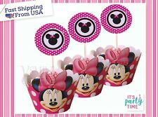 Minnie Mouse Polka dot Cupcake Wrappers & Toppers Birthday Party - Serve12