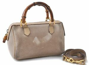 Authentic GUCCI Bamboo 2way Shoulder Hand Bag Suede Leather Beige A7938