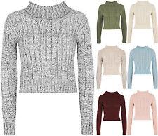 Bauchfreie Damen-Pullover & -Strickware ohne Muster mit grober Strickart