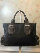 FURLA Black Nylon with Leather Trims and Straps Large Shoulder Business Bag