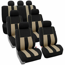 Beige Black 3Row SUV Split bench Car Seat Covers Full Set Car Auto