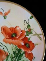 Antique hand painted Prussia Royal Rudolstadt porcelain dish Red poppies