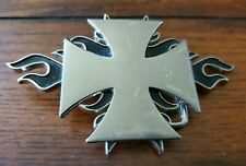 Iron Cross With Black Flames Belt Buckle