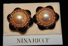 Vintage Nina Ricci - Faux Pearl, Black and Gold Flower Earring