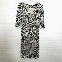 Diane von Furstenberg Silk Dress Sz 2 Zebra Print 3/4 Sleeve V Neck Sheath