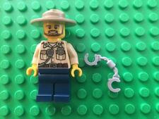 NEW Lego Swamp Police Male Officer With Round Brimmed Hat and Handcuffs