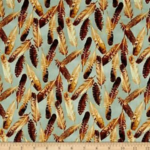 Quail Fabric #8363 B Feathers on Gray OOP Quilt Shop Quality Cotton