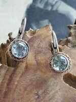 Blue topaz sterling silver FAS signed sterling silver leverback earrings