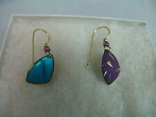 Purple Aqua Turquoise Shell Nib Smithsonian Museum Artisan Earrings Triangular