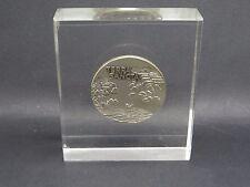 Silbermünze .935 im Acrylblock 1963 Israel TERRA SANCTA Pilgerfahrtandenken (351