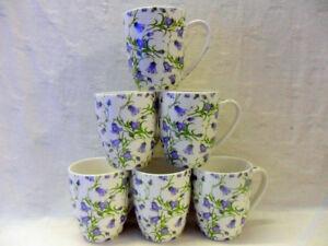 set of 6 china Aspen mugs in Harebell design