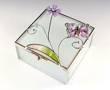 NEW LARGE BUTTERFLY FLORAL FROSTED GLASS METAL TRIM SQUARE VANITY TRINKET BOX
