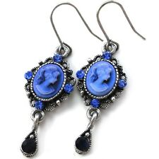 Blue Teardrop Romantic Cameo Hoop Dangle Pierced Earring Antique Vintage Style