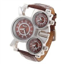 Military Army Multi Time Zones 3 Dials Men Sports Leather Wrist Watch Brown New