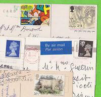 Sur lot de 5 CP - 5 timbres Royaume Uni au total