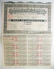 Lot de 5 Parts de Fondateur anciennes : Charbonnage de la Cesse ( 763 )