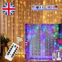 3Mx3M USB LED Curtain String Lights 8 Modes Fairy Garland Remote Control Wedding
