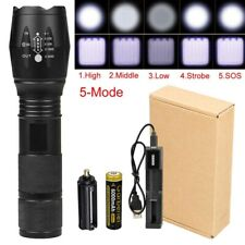 AU 50000LM Military T6 LED Rechargeable Flashlight Zoomable Torch 18650 Battery