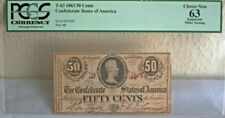 1863 Confederate Hand Cut 50 Cents Note Paper Money Civil War Era T-63 Richmond