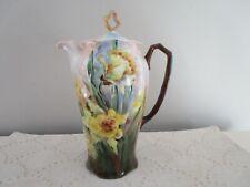 Antique Yellow Iris Flowers Blue Greens Porcelain Coffee Pot Tall Exquisite