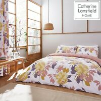 Catherine Lansfield Elina Floral Easy Care Quilt/Duvet Cover Bedding Set Blush