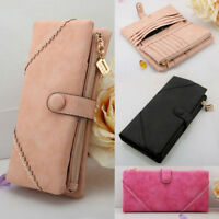 2016 Women Leather Bag Wallet Button Clutch Zipper Purse Lady Long Handbag UK