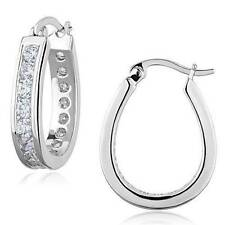 Rhodium Plated Hoop Round Costume Earrings
