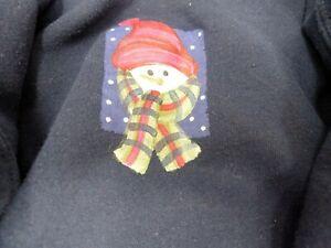 VTG Youth S Boys Gildan Hoodie Sweatshirt  Navy Blue Snowman