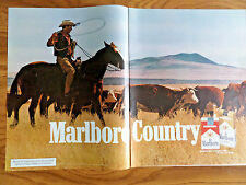 1972 Marlboro Man Country Cigarette Ad Roping Cowboy Horse Longhorn Cattle Drive