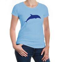 Damen Kurzarm Girlie T-Shirt Delfin Schwertwal dolphin Meeressäuger Meerestier