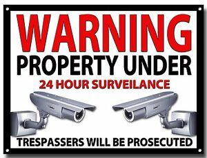 LGE A3 SIZE WARNING PROPERTY UNDER 24 HOUR SURVEILANCE ENAMELLED METAL SIGN.