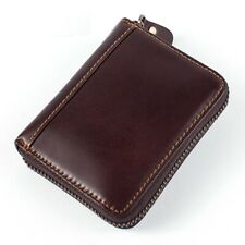 Men Wallet Genuine Leather Credit Card Holder Zipper Closure Solid Pattern Pouch