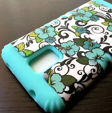 For Samsung Galaxy S5 -HARD&SOFT RUBBER HYBRID ARMOR SKIN CASE MINT BLUE FLOWERS