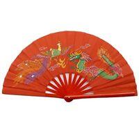 Chinese Tai Chi Martial Art Kung Fu Bamboo Dragon and Phoenix Fan Red