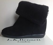 NEW was £275 LK BENNETT EU41:UK 7/8 CALLY CONCEALED WEDGE BLACK SUEDE/SHEARLING