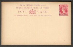 Turks Islands QV Queen Victoria 1d red postal card unused